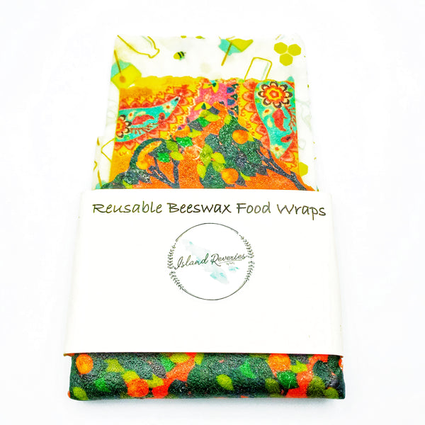 Island Reveries Reusable Beeswax Food Wraps , Yellow, Orange, Green