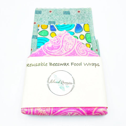 Island Reveries Reusable Beeswax Food Wraps , Grey, Multi, Pink