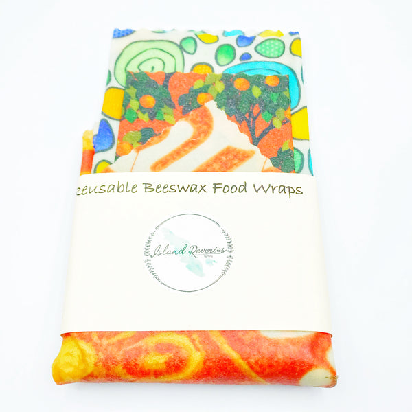 Island Reveries Reusable Beeswax Food Wraps , Multi, Orange, Green