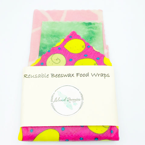 Island Reveries Reusable Beeswax Food Wraps , Pink, Green, Yellow