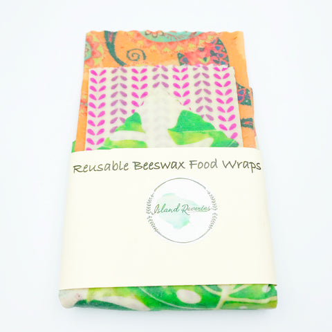 Island Reveries Reusable Beeswax Food Wraps , Orange, Pinks, Green