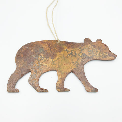 Rusted Steel hanging Bear, 4 x 3 inches