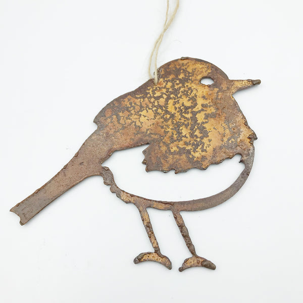 Rusted Steel hanging Winter Bird, 4 x 3 inches
