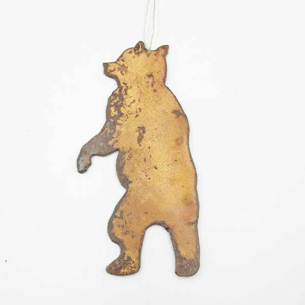 Rusted Steel hanging Standing Bear, 4 x 3 inches
