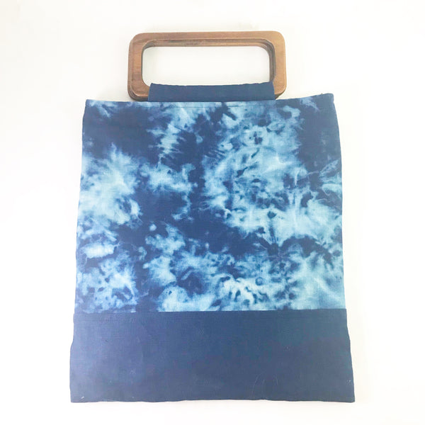 Indigo Hand Dyed Shibori Bag with Wooden Handle
