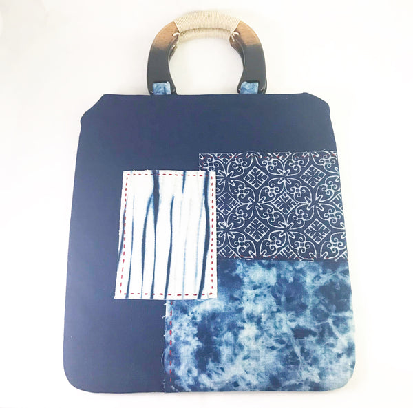 Indigo Hand Dyed Shibori Wrapped Patch Bag with Wooden Handle