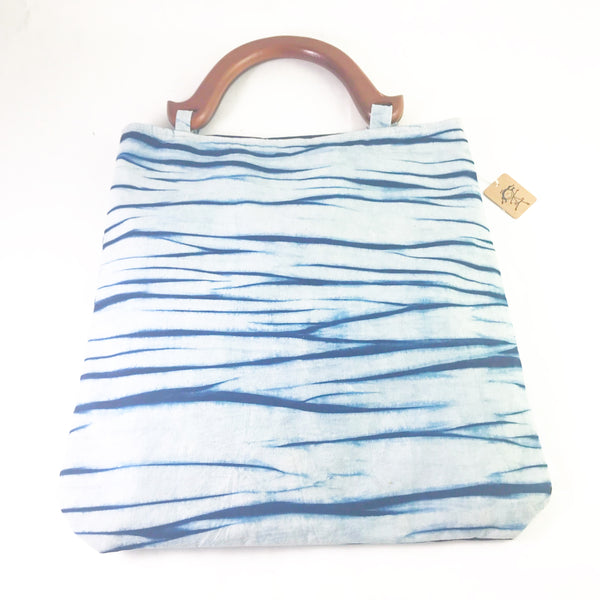 Striped Indigo Hand Dyed Shibori Bag with Wooden Handle