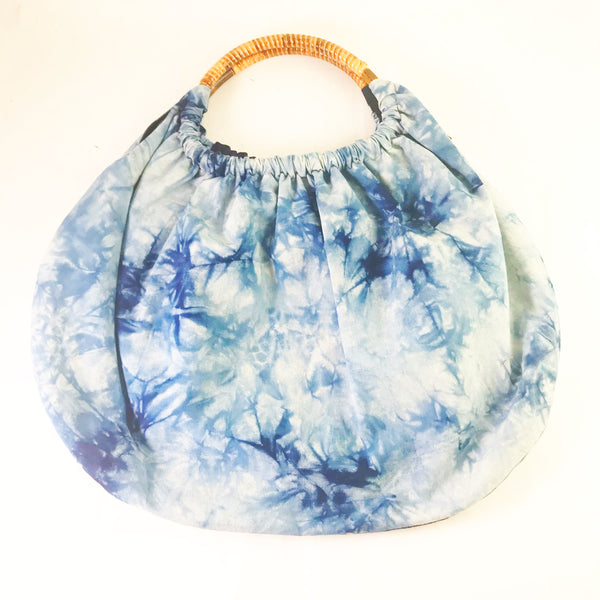 Indigo Hand Dyed Shibori Bag with Bamboo Handle