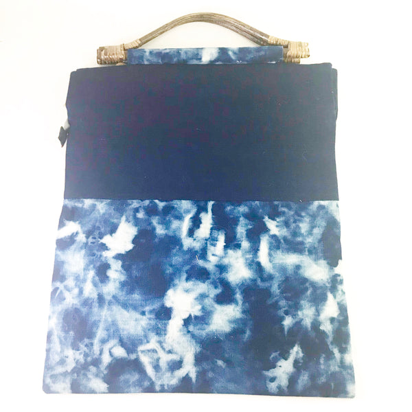 Indigo Hand Dyed Shibori Zippered Bag with Bamboo Handle