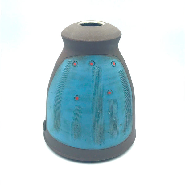 Large Ceramic Dark Clay Bud Vase, Blue Design