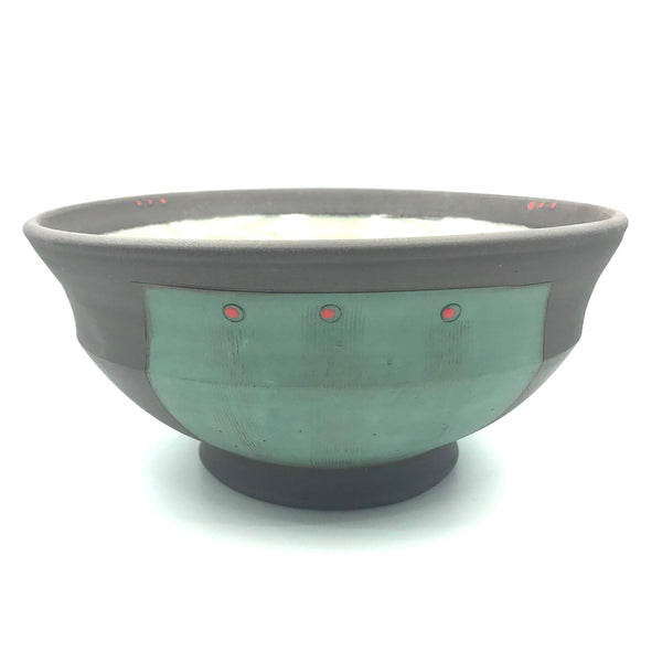 Ceramic Dark Clay Large Serving Bowl, Green with Red Design