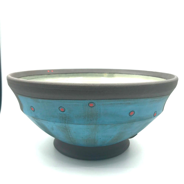 Ceramic Dark Clay Large Serving Bowl, Blue with Red Design
