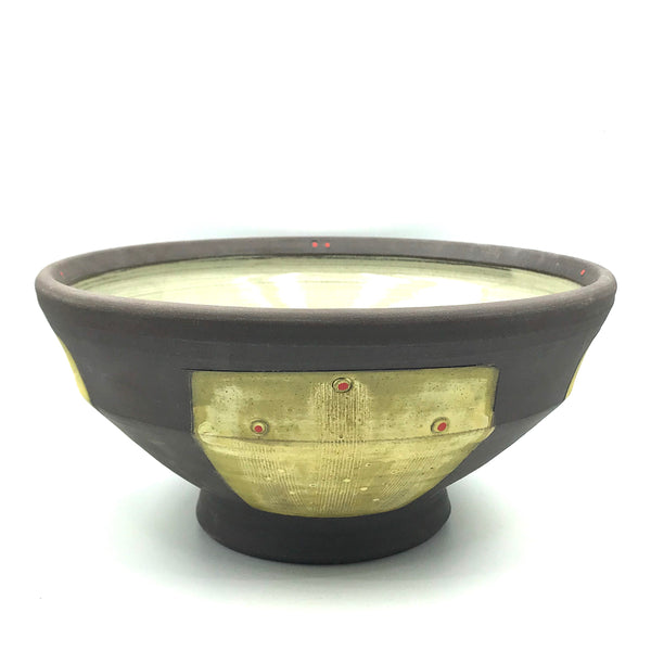 Ceramic Dark Clay Large Serving Bowl, Yellow with Red Design
