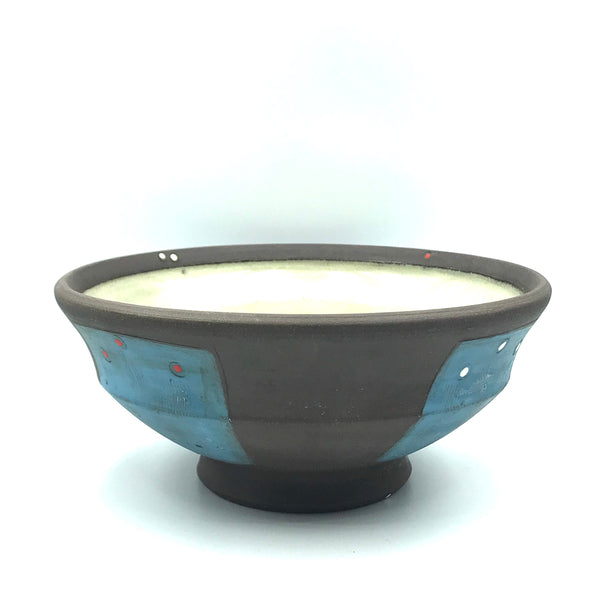 Ceramic Dark Clay Soup Bowl, Blue with Red and White Design