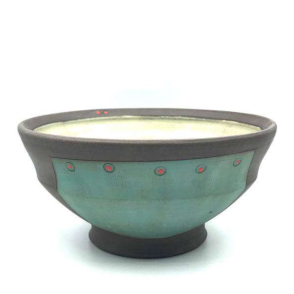 Ceramic Dark Clay Soup Bowl, Green with Red Design