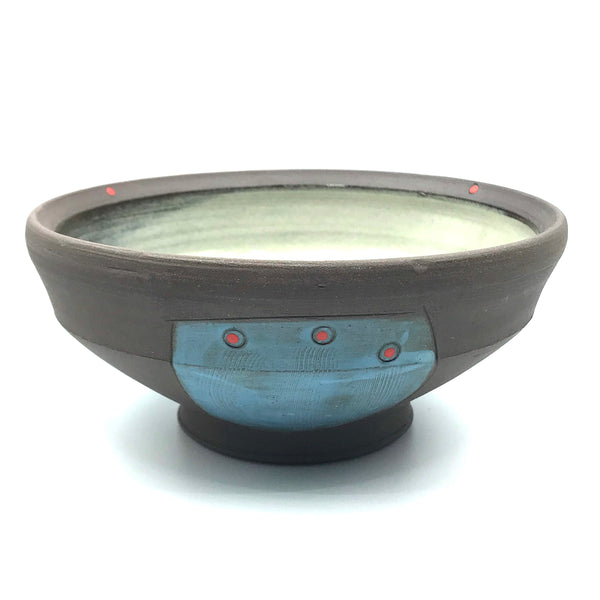 Ceramic Dark Clay Soup Bowl, Blue with Red Design