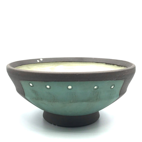 Ceramic Dark Clay Soup Bowl, Green with White Design