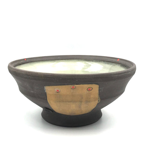 Ceramic Dark Clay Soup Bowl, Orange with Red Design