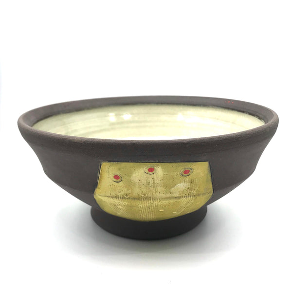 Ceramic Dark Clay Soup Bowl, Yellow with Red Design