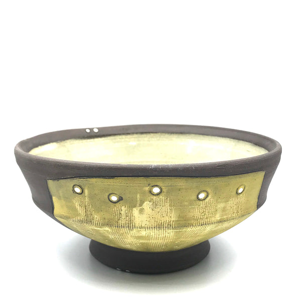 Ceramic Dark Clay Soup Bowl, Yellow with White Design