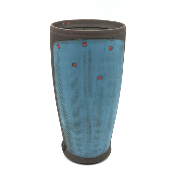 Ceramic Dark Clay Tall Tumbler, Blue with Red Design