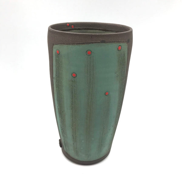 Ceramic Dark Clay Tall Tumbler, Green with Red Design