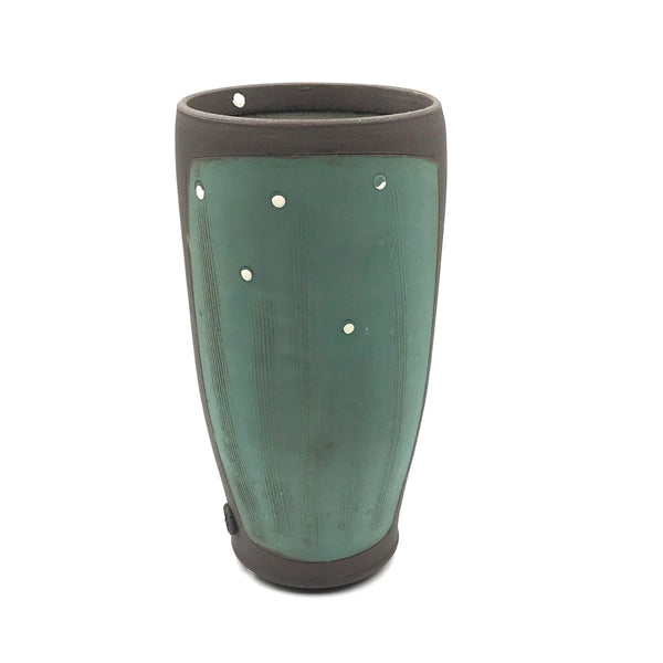 Ceramic Dark Clay Tall Tumbler, Green with White Design
