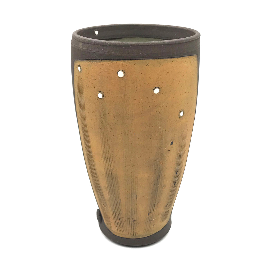 Ceramic Dark Clay Tall Tumbler, Orange with White Design