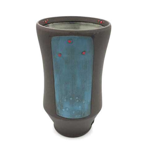Ceramic Dark Clay Tall Curved Tumbler, Blue with Red Design