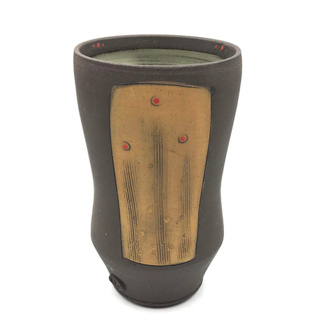 Ceramic Dark Clay Tall Curved Tumbler, Orange with Red Design