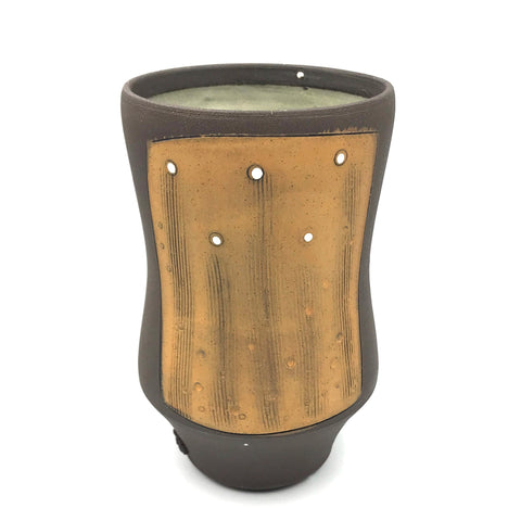 Ceramic Dark Clay Tall Curved Tumbler, Orange with White Design