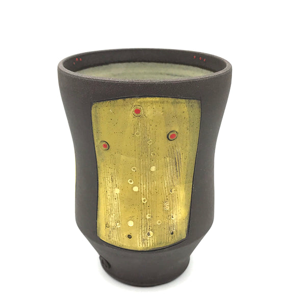 Ceramic Dark Clay Small Curved Tumbler, Yellow with Red Design