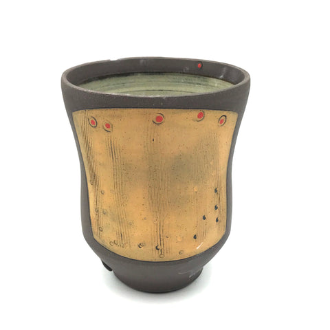 Ceramic Dark Clay Small Curved Tumbler, Orange with Red Design