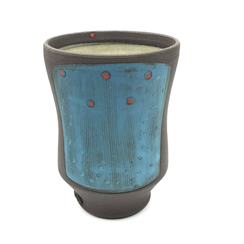 Ceramic Dark Clay Small Curved Tumbler, Blue with Red Design