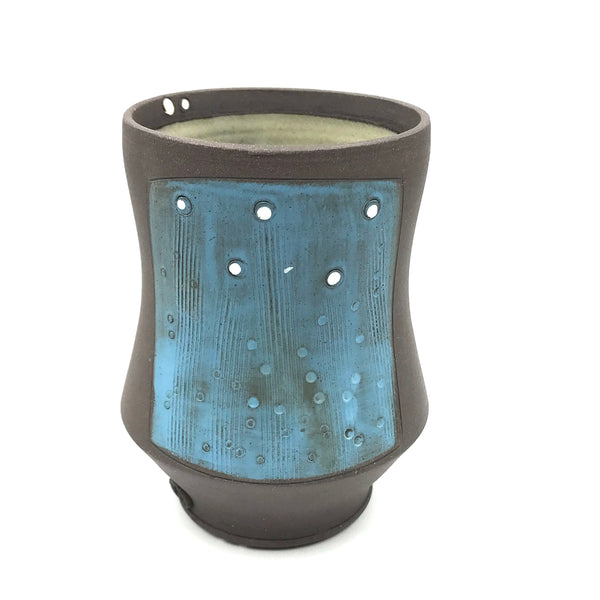 Ceramic Dark Clay Small Curved Tumbler, Blue with White Design