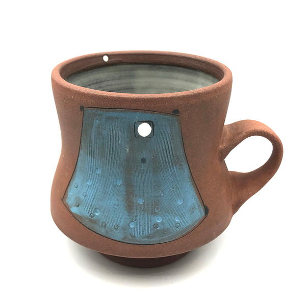 Ceramic 390 Red Clay Mugs, Blue with White Design
