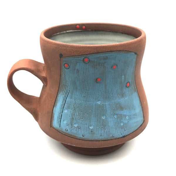 Ceramic 390 Red Clay Mugs, Blue with Red Design