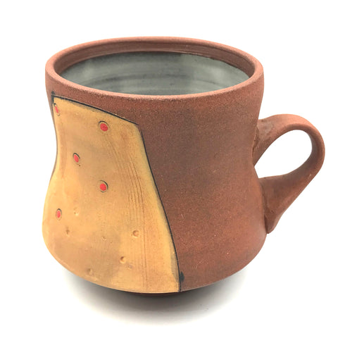 Ceramic 390 Red Clay Mugs, Orange with Red Design