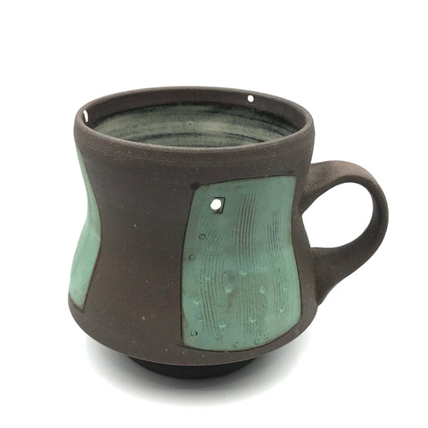 Ceramic Dark Clay Mugs, Green with White Design