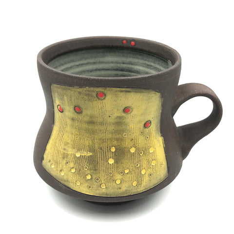 Ceramic Dark Clay Mugs, Yellow with Red Design