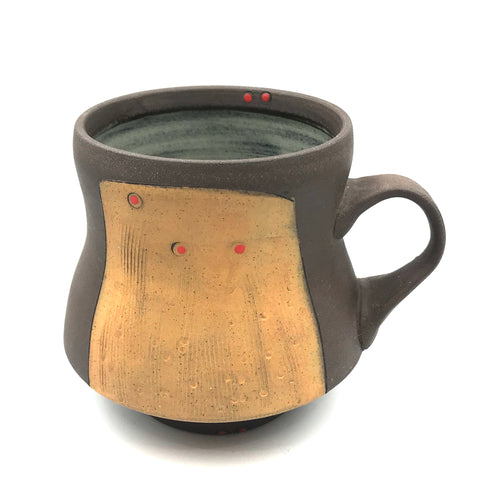 Ceramic Dark Clay Mugs, Orange with Red Design