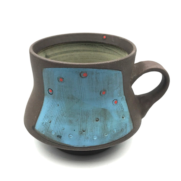 Ceramic Dark Clay Mugs, Blue with Red Design
