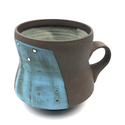 Ceramic Dark Clay Mugs, Blue with White Design