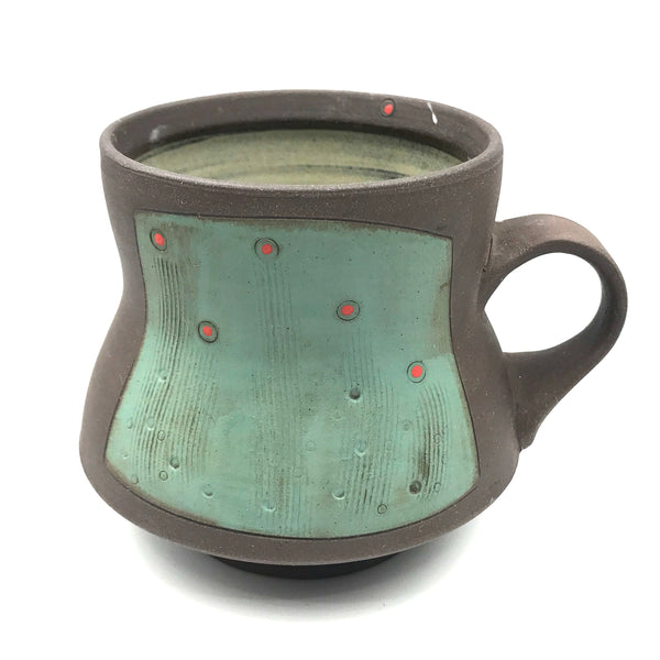 Ceramic Dark Clay Mugs, Green with Red Design