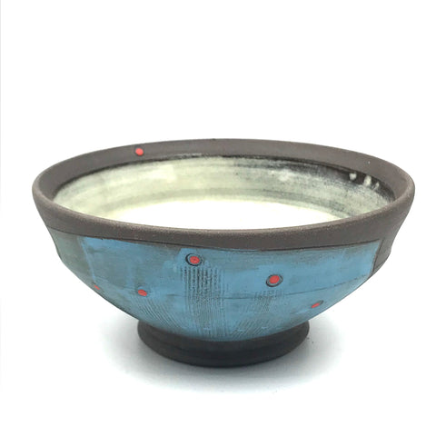 Ceramic Dark Clay Ice Cream Bowl, Blue with Red Design