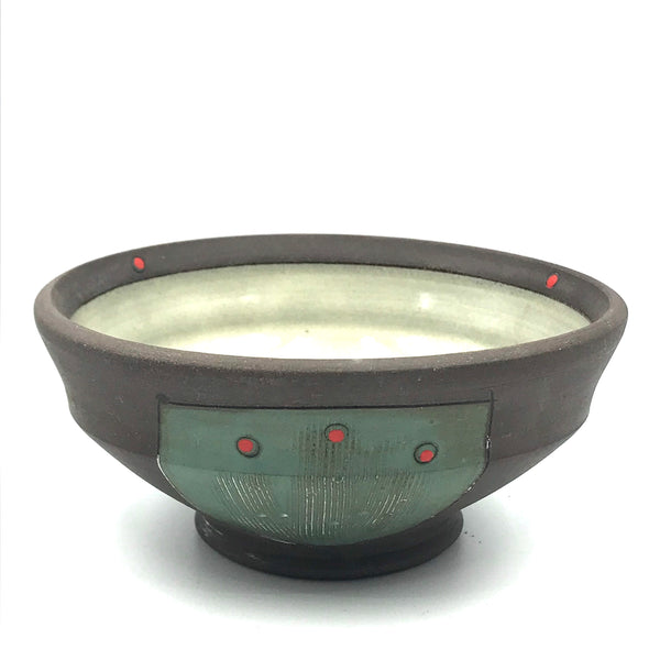 Ceramic Dark Clay Ice Cream Bowl, Green with Red Design