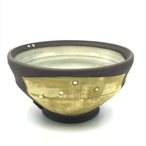 Ceramic Dark Clay Ice Cream Bowl, Yellow with White Design