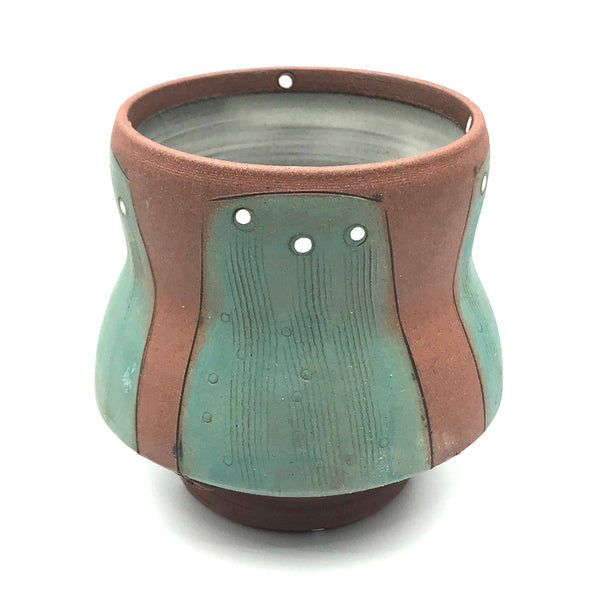 Ceramic Red Clay Whiskey Cup, Green with White Design