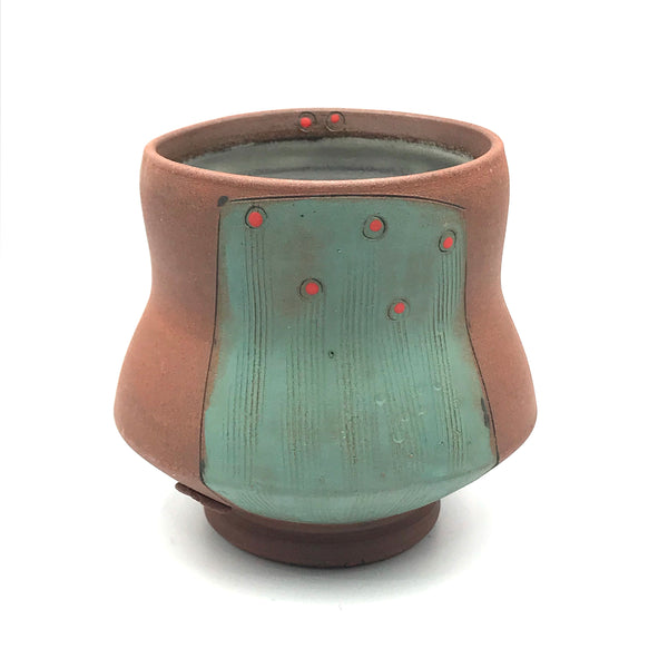 Ceramic Red Clay Whiskey Cup, Green with Red Design