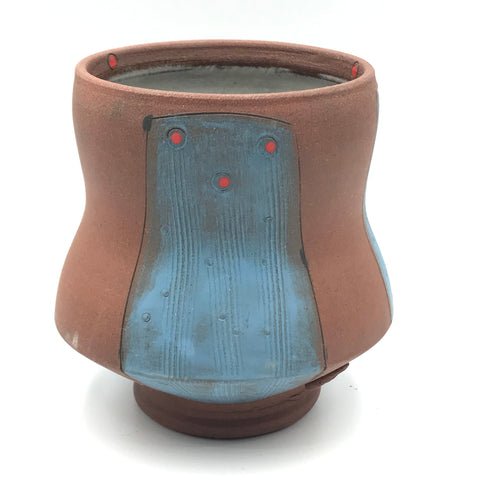 Ceramic Red Clay Whiskey Cup, Blue with Red Design
